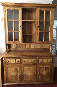 Solid Wood Glazed Kitchen Dresser Display Cabinet
