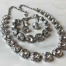 12mm Swarovski crystal elements Necklace Bracelet And Earrings Clear Crystal NWT