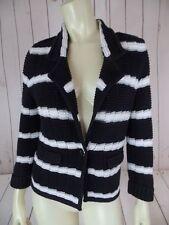 WHITE HOUSE BLACK MARKET Sweater S Black White Silver Stripe Cotton Blend CHIC!
