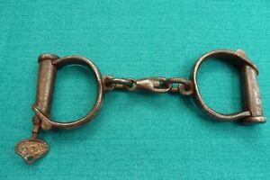 Vintage Signed Nichols Not Hiatt Obsolete Police Handcuffs