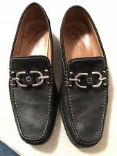 White Top Stiched Black Soft Leather Silver Buckle DONALD PLINER Loafers 9.5 M