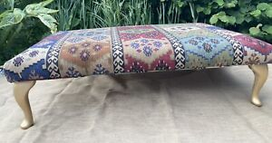 Hand Crafted Large Warwick Anthropology Fabric Footstool, Queen AnneWooden Legs