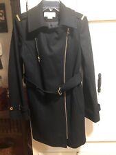 MICHAEL KORS Asymmetrical Zipped Belted Coat Size 8 BLACK Wool Blend