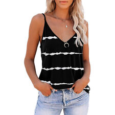 Womens Tank Tops Strappy Sling T-shirt Ladies Sleeveless Blouse V Neck Vest Tee