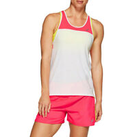 Asics Womens Loose Strappy Tank Top - Pink White Sports Running Gym Breathable