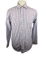 English Laundry Blue Striped Button front Long Sleeve Shirt Size 16 34/35