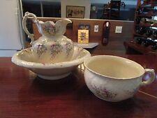 Allandale 1920-1940 Ceramic Chamber Pot, Wash Basin and Pitcher