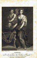 Herodias head of John Baptist - Original etching 1700 Marchard Leonardo da Vinci