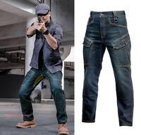 Men's Tactical Jeans Combat Denim Cargo Pant Multi-pocket Work Climbing Trousers