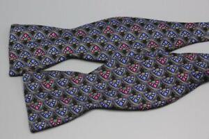 FABERGE Adjustable Silk Bow Tie. Black w Pink Floral Medallion.