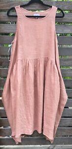 Deep Pink Sleeveless Flare Midi Dress Side Pockets Linen NWT size 10 12 14 16 18