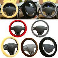 DIY Car Winter Warm Soft Plush Elastic Steering Wheel Cover Protector