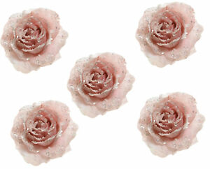 5 x Beautiful Pink Icy Rose Clip On Flower Christmas Tree Decorations 14cm