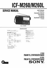 SONY ICF-M260 ICF-M260L SERVICE MANUAL BOOK IN ENGLISH PLL SYNTHESIZED RECEIVER