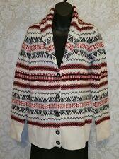 CAMBRIDGE Dry Goods Lambswool Shawl Collar Nordic Cardigan Sweater Sz M #2362