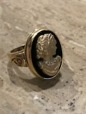 Carved Onyx Cameo Ring Estate Diamond Lovely Antique 14K Gold Victorian Hand