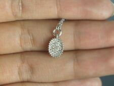 $540 Gabriel & Co 14K White Gold 0.15ct Round Diamond Oval Pendant 16'' Necklace