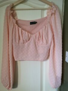 PLT Pink Milk Maid Crop Top Blouse Size 12 long sleeve pretty holiday party