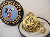 DISNEY MICKEY MOUSE POCKET WATCH RAILROAD WORKER  NEW  DISNEY TIN  RARE!!