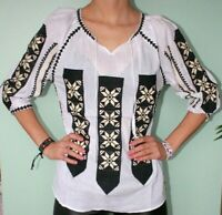 Women;s Flower Embroidered White Top Romanian Peasant Boho Hippie Blouse S-XXL