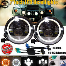 "For Hummer H1 H2 H3 H3T 7""Inch 120W LED Halo Angel Eye Headlight Lamp H4-H13 DRL"