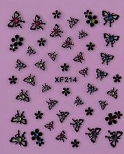 3D Nail Art Stickers Black Butterfly Flower Pink/Blue/White Crystal XF214
