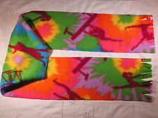 Girls Gymnastics w Tie Dyed bkgrnd Fleece Scarf Balance Beam Parallel bars