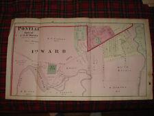 PONTIAC OAKLAND COUNTY MICHIGAN ANTIQUE HANDCOLOR MAP N