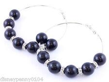 BLACK-Hoop Beads/Rhinestones Dangle Basketball Wives Earrings-2 3/4 inches