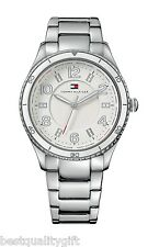 NEW-TOMMY HILFIGER POLISHED SILVER-TONE S/STEEL+WHITE ACCENT DIAL WATCH #1781056