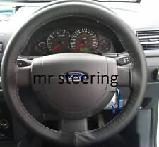Per FORD FIESTA MK6 02-10 Real BLACK ITALIAN LEATHER STEERING WHEEL COVER NUOVA