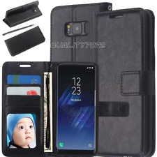 Samsung Galaxy S7 S8 S9 Plus Note 9 Genuine Slim Leather Flip Wallet Case Cover