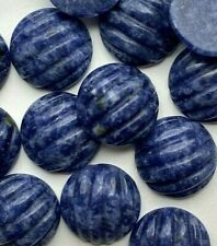 15 Genuine Fluted Carved Sodalite Cabs - 12mm Round Cabochons - Vintage Stock