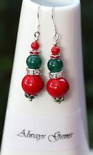 Earrings with Red shell pearl and Green jade Handmade new