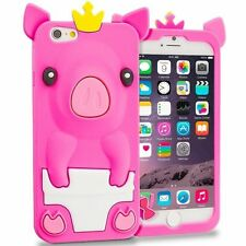 For iPhone 7 (4.7 inch) - SOFT SILICONE RUBBER SKIN CASE COVER HOT PINK CUTE PIG