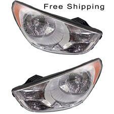 Halogen Head Lamp Assembly Set of 2 LH & RH Side Fits 2010-2013 Hyundai Tucson
