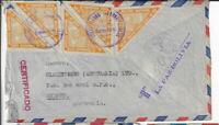 Bolivia,1949, Scott# C81 x 5 copies, registered to Australia via SF, MIA (F111)