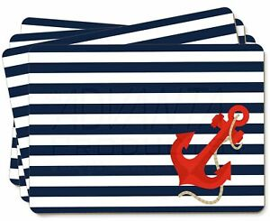 Nautical Stripes Red Anchor Picture Placemats in Gift Box, NAUTICAL-1P