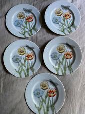 Rare! Fitz & Floyd Pretty Pastel Poppy Salad Plates (x5) Japan 1976