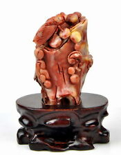 Natural ShouShan Stone / Agalmatolite Carved Cicada Statue / Sculpture / Carving
