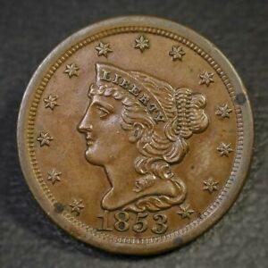 1853 Braided Hair Half Cent AU