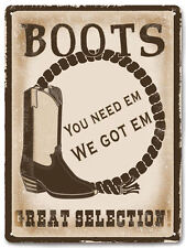 COWBOY Boots METAL SIGN shoe store closet VINTAGE style gift wall decor art 618