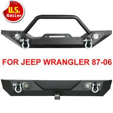 87-06 Jeep TJ YJ Wrangler Textured Front Rear Bumper Winch Plate CREE LED Lights