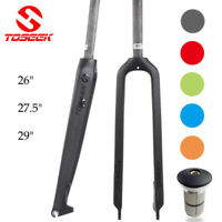 "1-1/8"" 3K Full Carbon Mountain Bike Fork 26/27.5/29er Disc brake Rigid QR Forks"