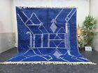 "Moroccan Handmade Beni Ourain Rug 7'6""x8'3"" Berber Abstract White Blue Carpet"