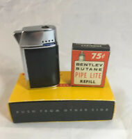 Bentley Butane Lighter Flick Black Silver 1950's   - With Empty Refill In Box