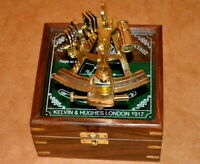 vintage brass nautical maritime sextant astrolab ship instrument w/ wooden box