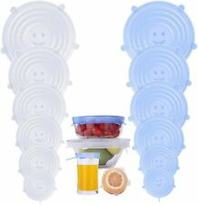 """12 Silicone Stretch Container Lids  Blue and Transparent Silicone Lids 2.6"""" - 8"""""""