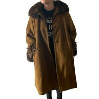 Vintage 90s afghan Brown Sheepskin Suede Coat Shearling Fur Collar Cuffs Large