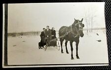 1916 Photo Postcard HORSE DRAWN SLEIGH SNOW CANADA frozen lake vintage antique